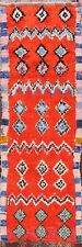 Geometric Semi Antique Orange Moroccan Oriental Runner Rug Hand-knotted Wool 3x9