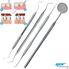 Pro DENTAL 3 / 4 PIECE SCALERS Probe Pick SET + Mouth Mirror STEEL Tool-KIT