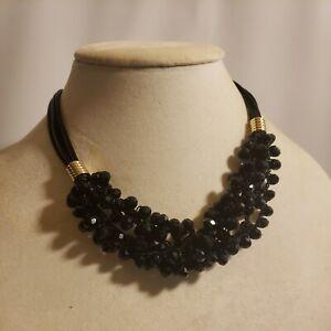 New Time & Tru Women's Gold Tone Multi Strand Necklace Black Glass Sparkly