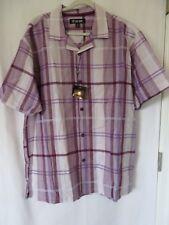 Stacy Adams Casual Camp Shirt Short Sleeve Button Down Purple Plaid XL #7502