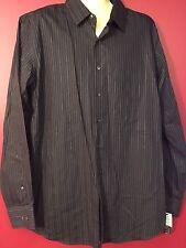 APT. 9 Big & Tall Men's Black/Grey Striped Dress Shirt - Size LT - NWT