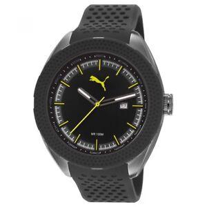 Puma Uhr PU103261003 Octane Herren Silikon Schwarz Grün Sport Watch NEU & OVP