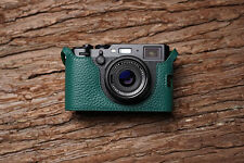 Genuine Real Leather Half Camera Case Bag Cover for FUJIFILM X100F Green Color