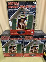 Lot of 3 Mr. Christmas Indoor Virtual Holiday Projector Animated Window Screen