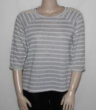 NEW Style&co. Plus Size 0X Stirped Crochet Trim Top Chiffon Hem 3/4 Sleeve GREY