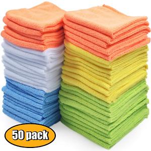 Microfiber Cleaning Cloth Towel Rag Car Polishing No Scratch Detailing Set of 50