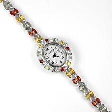 925 plata esterlina genuino Elegante Color Zafiro 2 Fila Pulsera Reloj 7 pulgadas