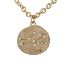 Lux Accessories Gold Tone Crystal Taurus Zodiac Constellation Horoscope Necklace