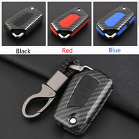 Carbon Fiber Shell+Silicone Cover Remote Key Holder Fob Case For Toyota Corolla