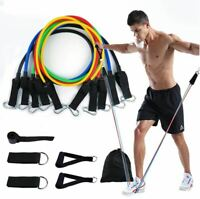 11 Pack Resistance Bands Set, Exercise Bands with Door Anchor Handles Waterproof