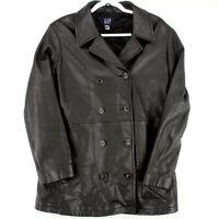 GAP Vtg '99 Black Leather Double Breasted Btn Jacket Peacoat Coat Women's Medium