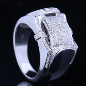 Gift Real SI/H Diamonds Wedding Men Band Ring Fine Jewelry Solid 10k White Gold
