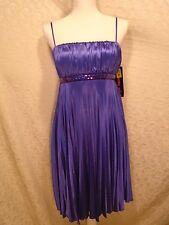 Serene Girl Medium Violet Spaghetti Strap Empire Waist Lined Pleated Dress -I-