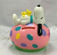 Peanuts Snoopy w/ Pink Easter Egg Figurine Woodstock BANK - Whitman's candy F/S