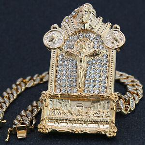 """Last Supper Jesus Temple Pendant Gold Pt 20"""" Fully Cz Hip Hop Cuban Choker Chain"""