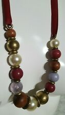 Accessorize Lovely Beaded Necklace on Ribbon Red Gold Pearl Blue VGC
