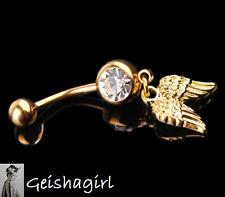 New Fashion Golden Wings Navel Belly Button Ring Bar Body Piercing UK Seller