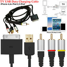 USB Composite RCA TV AV Video Charger Cable For iPod iPad 2 3 iPhone 4 4S 3G 3GS