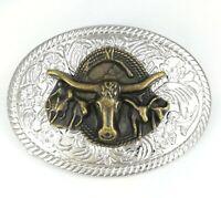 Silver Gold Rodeo Horse Bull Head Longhorns Western Cowboy Mens Belt Buckle