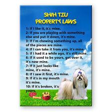 SHIH TZU Property Laws FRIDGE MAGNET Steel Cased DOG