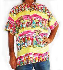 "Mens Hawaiian shirt, yellow with beer bottles, XXL, 56"""
