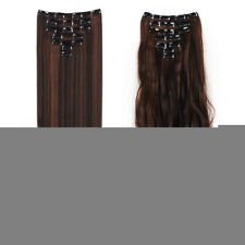 Double Weft Full Head 7pcs Clip Hair Extensions Hairpiece Xmas Party Wedding Cos