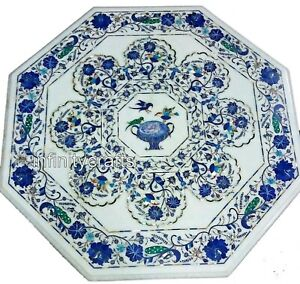 30 Inches Marble Center Table Top Inlay Patio Dining with Luxurious Pattern
