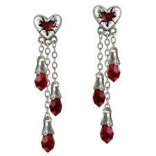 ALCHEMY BLEEDING HEART EARRINGS Gothic Vampire Red Swarovski Goth +FREE GIFT BOX