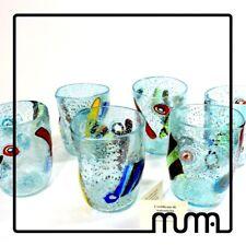 Glasses glass murano set x6 with murrina millefiori handmade idea gift