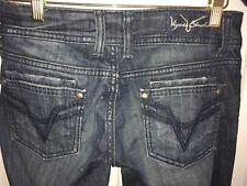 Vigoss Studio Women Jeans Size 27 x 31 Boot Cut Distressed Blue Denim the Dublin