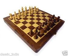 "Wooden ✿ Chess Board Box (folding) 12x12"" ✿ Natural Wood made carved Coins & Box"