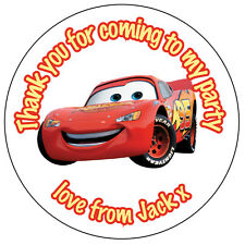 Personalised Cars 2 Lightning McQueen Stickers Birthday  Party Thank you -N141