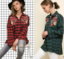 XL-PLUS 1XL 2XL UMGEE RED or GREEN PLAID Embroidered Top/Shirt/Blouse/TUNIC BHCS