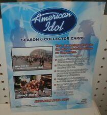 AMERICAN IDOL  SEASON 6  TRADING CARDS  - SELL SHEET  8 1/2 X 11