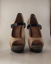 Women's Jessica Simpson Beige and Black Patent Peep Toe Stilettos Size 6B