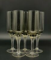 Set Of 5 Sherry/Liqueur Glasses With Smoky Grey Bowl And Clear Twisted Stem