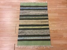 Striped Black Green Handloomed 100% Cotton Rag RUG Durrie Mat 60x90cm 2x3 50%OFF