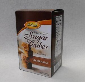 Roland DEMERARA Natural Brown Pure Cane SUGAR CUBES 35.3 oz. Rough Cut