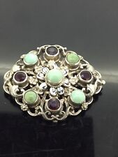 Antique Garnet Turquoise Brooch Pin Filigreed Beautifully Crafted