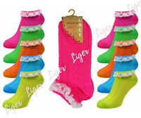 Girls Ladies Neon Frilly Lace Trim Ankle Trainer Liner Socks Fancy Dress 4 - 8