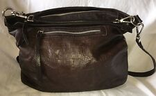 GIANNI CHIARINI Brown Croc Embossed Extra Large Leather Hobo Handbag Purse