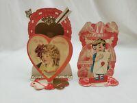 Antique Lot of 2 Valentine's Day Card Fold Out 3-D Die Cut Girl Birds Floral VTG