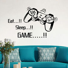 EAT SLEEP GAME REMOVABLE WALL STICKERS ART DECAL DIY BOYS BEDROOM RETRO