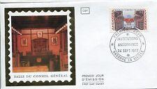 FDC PREMIER JOUR ANDORRE 1977 TIMBRE N° 265 SALLE DU CONSEIL GENERAL