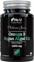 NU U Nutrition Vegan Omega 3 Algae Oil Capsules with Vitamin E - 1300mg 90 capsu