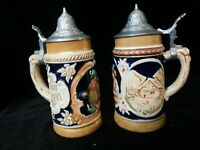 """Lot of 2 Vintage German Beer Stiens with lids 5 1/2"""" Tall marked"""