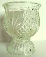 Clear Glass Avon Candle Holder Diamond Cut Style Pattern Votive Cup