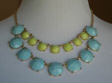NEW! OLD NAVY NECKLACE Costume Jewelry Blue Pistachio Green Gold