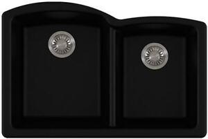 """Franke Ellipse Series ELG160ONY 33"""" Undermount Double Bowl Granite Sink in Onyx"""