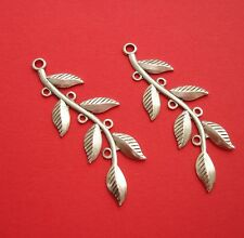 4- Ox Silver Stamping  Leaf Branch Pendant Connector Jewelry Findings.